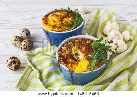 Italian Cauliflower With Quail Eggs, Arugula And Spices