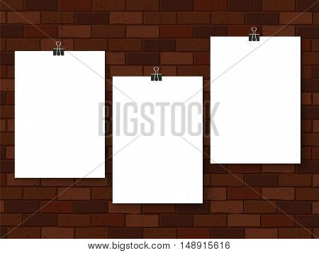 Posters On Binder Clips Mockup Brown Brick Wall