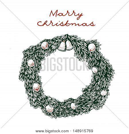 Christmas wreath decorative gift greeting card. Hand drawn