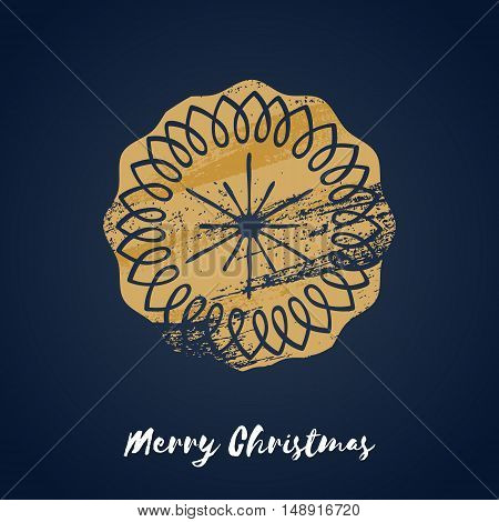 Colorful christmas ginger cookie icon. Hand drawn paint brush vector illustration. Good for christmas new year design