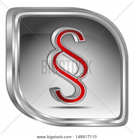 silver Law paragraph button - 3D illustration