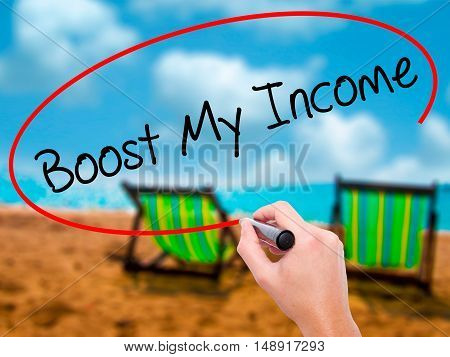 Man Hand Writing Boost My Income  With Black Marker On Visual Screen