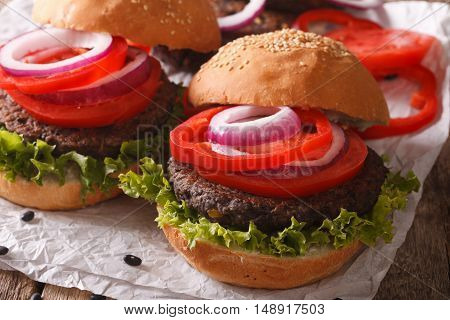 Vegetarian Sandwiches: Burgers From Beans And Vegetables Close-up. Horizontal