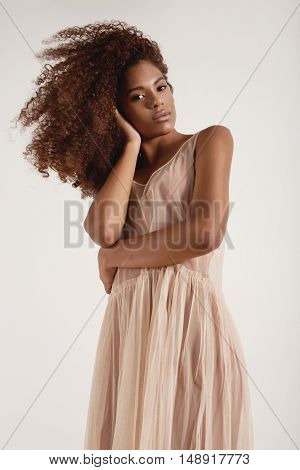 Woman With Big Afro Hair Wears Transparent Dancer's Dress