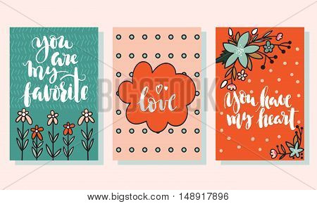 Set of three cute post cards with flowers. Sweet birthday cards. Can be used for birthday party invitations and greeting cards.