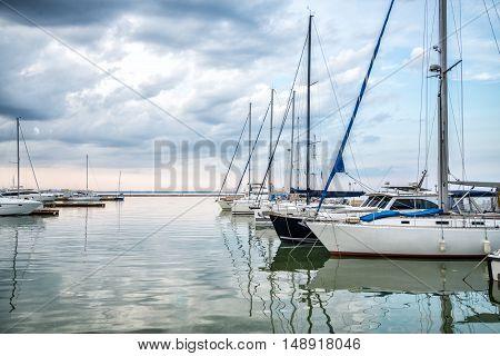 Marina with docked yachts at sunny day in Odessa