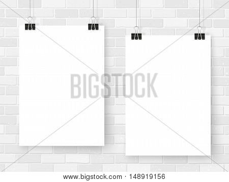 Posters On Binder Clips Mockup White Brick Wall