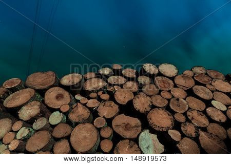 tree stumps background night. Logging stacked a wide angle plan