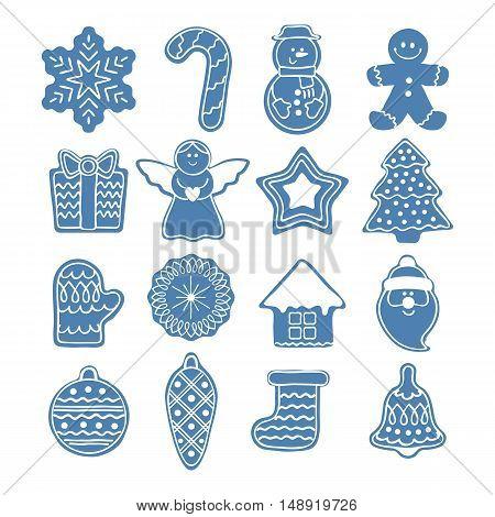 Beautiful Christmas icons set. New year symbols - gingerbread man star santa snowflake christmas tree ball sock ant other holiday designs.