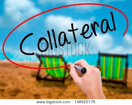 Man Hand Writing Collateral With Black Marker On Visual Screen