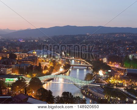 Evening panoramic view of Tbilisi central part, Georgia