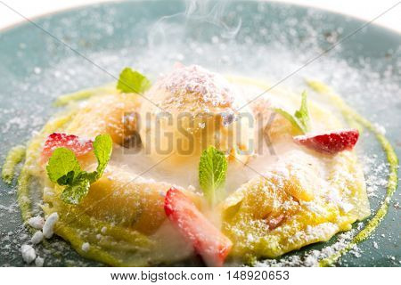 Pineapple Ravioli with Fruit Ice Cream and Berries
