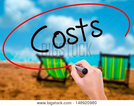 Man Hand Writing Costs  With Black Marker On Visual Screen