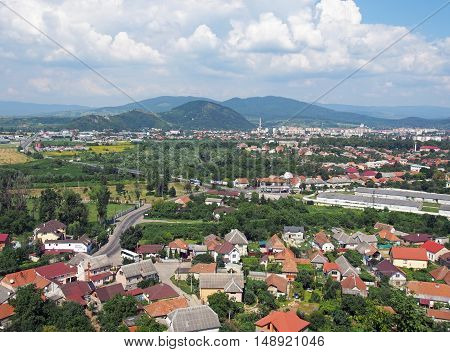 Panorama of the city of Mukachevo from height of walls of fortress of Palanok