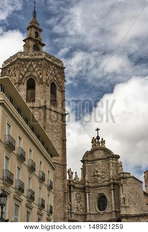 Valencia (Spain) exterior of the medieval cathedral in gothic style