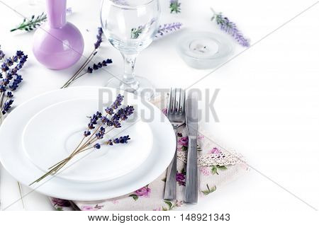 Dining Table Setting At Provence Style,