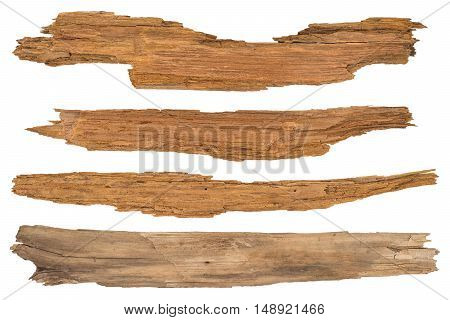 Old planks isolated on white. Top view.