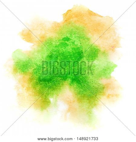 Green formless watercolor stain isolated over the white background