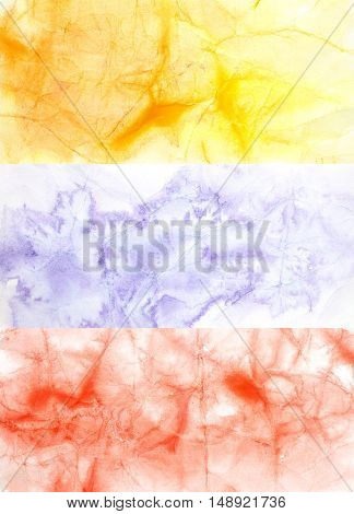 Set of colour watercolor backgrounds with texture of crumpled paper