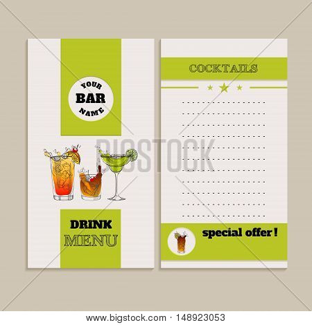 Vector drink menu design. Template with hand-drawn graphic. Flyer brochure