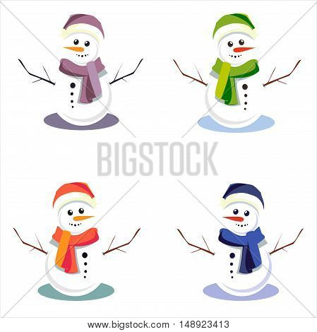 Cute snowmen in colorful hats on an isolated background