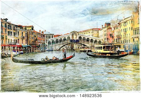 Beautiful romantic canals of Venice, Rialto bridge. artwork in painting style