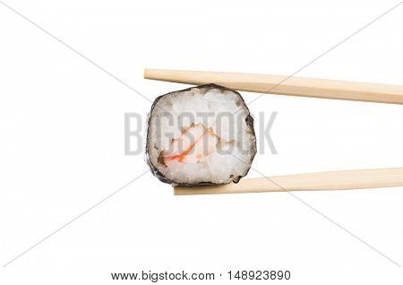 Sushi roll with chopstick isolated on white background. Japanese sushi food with wooden chopstick. Close up of sushi held roll between wooden chopstick