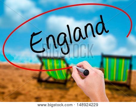 Man Hand Writing England With Black Marker On Visual Screen