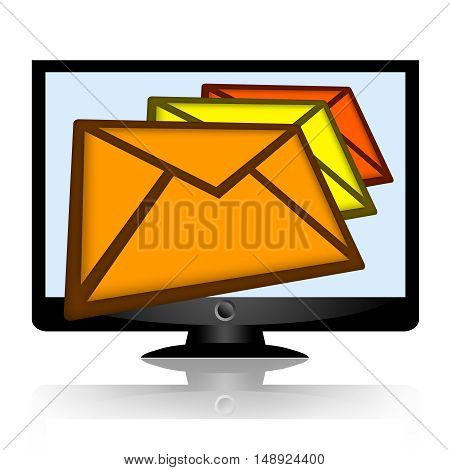 Mail envelopes or email messages falling from the computer monitor isolated on white background