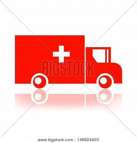 Ambulance truck silhouette isolated on white background