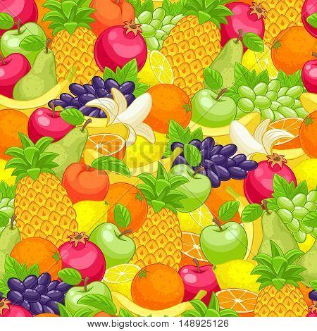 Assorted fruits seamless background vector illustration. Sweet juicy apple pear pineapple pomegranat orange peach lemon grape pattern.