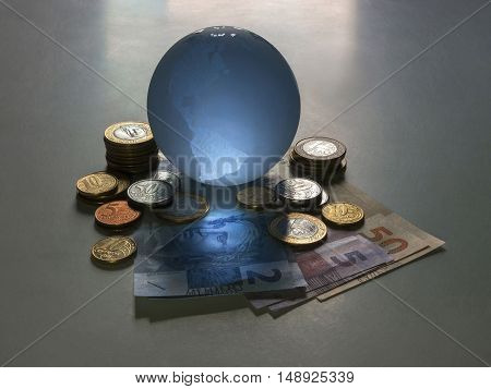 Globe with real notes sphere earth finance currency