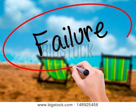 Man Hand Writing Failure With Black Marker On Visual Screen