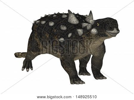 3D Rendering Dinosaur Euoplocephalus On White