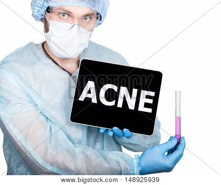 professional medical doctor showing tablet pc and ACNE sign a display, isolated on white.