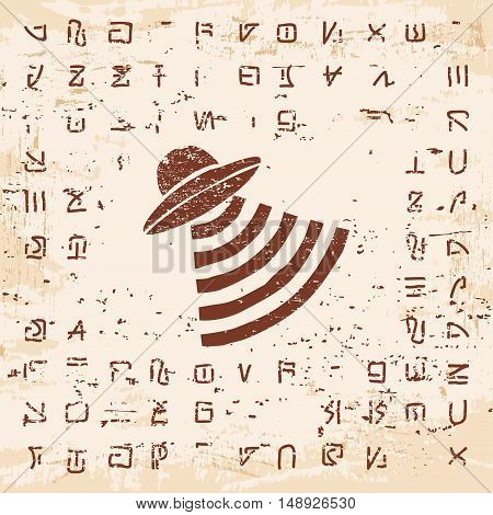 Vector illustration of alien writing, hieroglyphs and the Flying saucer on the stone with the effect of aging.