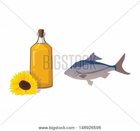 Vegetable oil and fish - useful products. For your convenience each significant element is in a separate layer. Eps 10