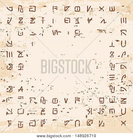 Stock Vector Alien hieroglyphics on the stone with the effect of aging.