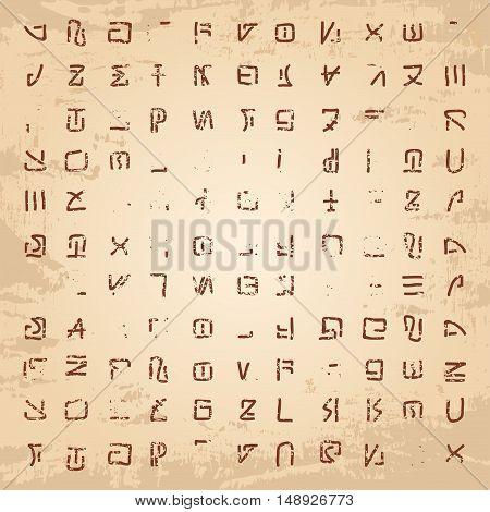 Stock Vector Alien hieroglyphics carved in stone left by aliens.