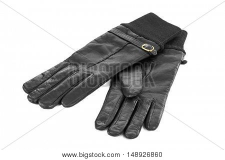 Black gloves isolated on white background
