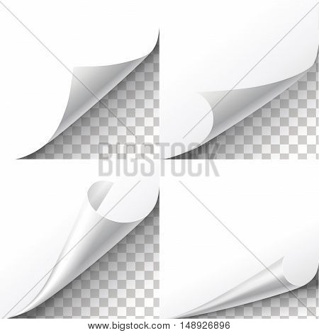 Curl paper corners set on transparent background. Sheet sticker, flip edges, message blank label illustration