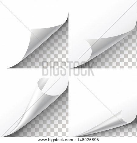 Curl paper corners set on transparent background. Sheet sticker, flip edges, message blank label illustration