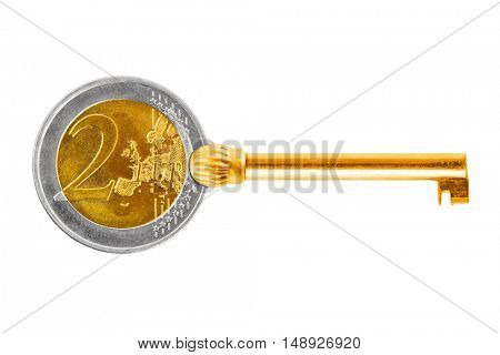 Key made of euro coin isolated on white background