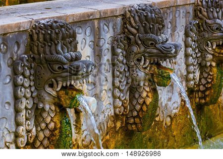 Hot spring Air Panas Banjar in Bali Island Indonesia - travel and architecture background