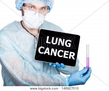 professional medical doctor showing tablet pc and lung cancer sign a display, isolated on white.