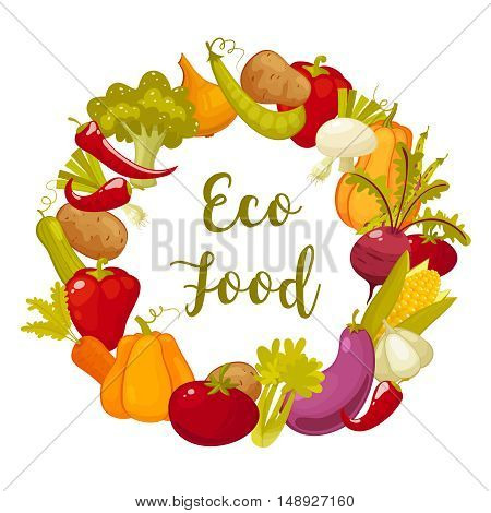 Eco food typographic poster with round decorative frame composed vegetables . Wreath from vegetables. Retro cartoon flat style vector illustration.