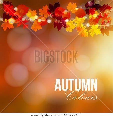 Autumn fall card banner. Garden party decoration. String of polygonal oak maple leaves lights. Modern vector blurred illustration background.