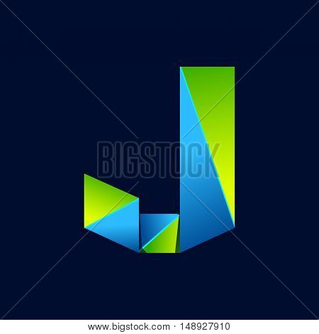 J letter line colorful logo. Abstract trendy green and blue vector design template elements for your application or corporate identity.