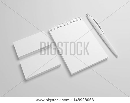 Photo-realistic 3d illustration spiral notepad or notebook with pencil and business cards. Blank mock-up template.