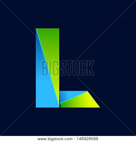 L letter line colorful logo. Abstract trendy green and blue vector design template elements for your application or corporate identity.